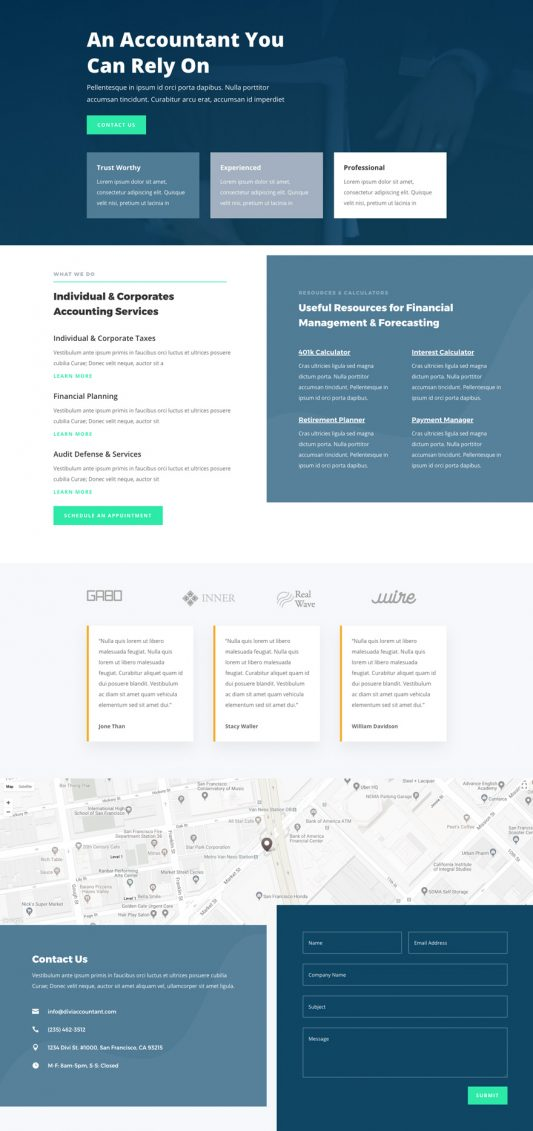 The accountant template is perfect for financial businesses, financial consultants, certified public accountant, and more.