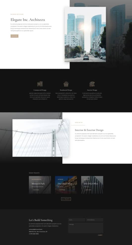 The architecture firm template is perfect for companies and organizations providing services for large commercial projects.