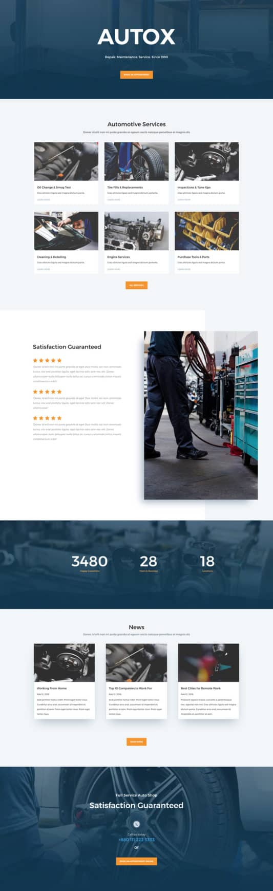 The auto repair template is perfect for businesses providing automotive repair, restoration, and aftermarket services.