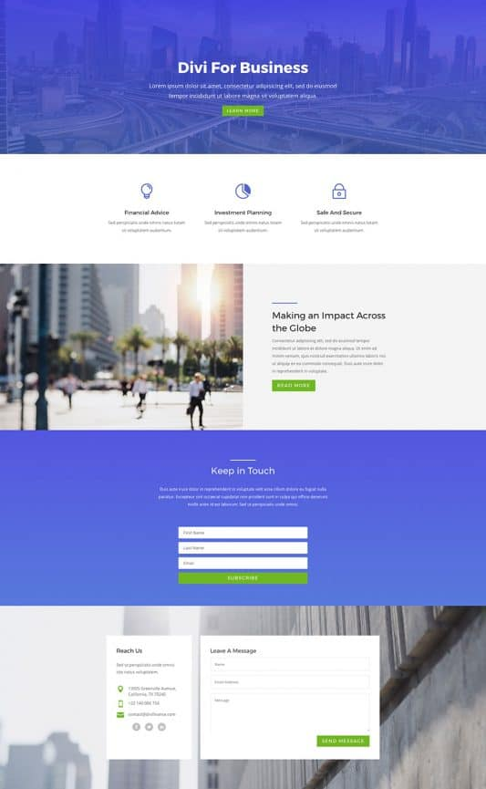 The agency template is a generic business template that can be used for a wide array of business types.