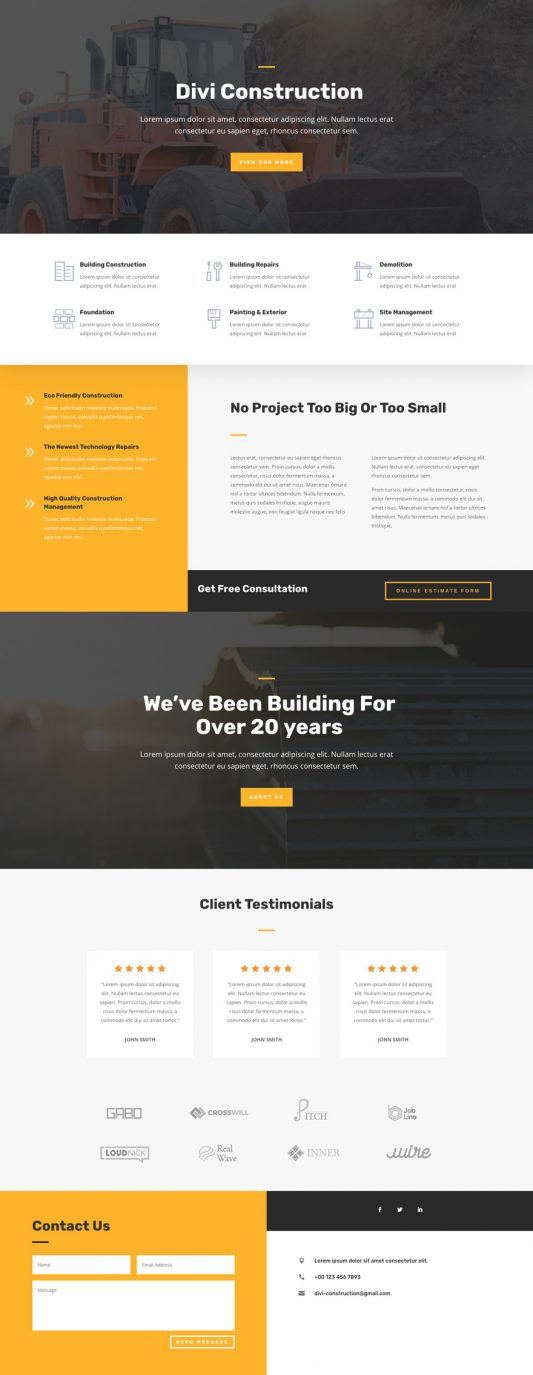 The construction template is perfect for either large or small construction businesses, or businesses providing related services.