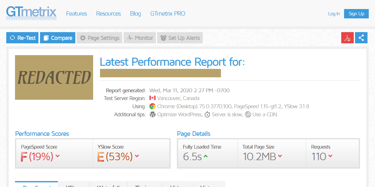 Performance Test of Local Competitor's website from GTMetrix.com with a PageSpeed Score of 19% and a YSlow Score of 53%.